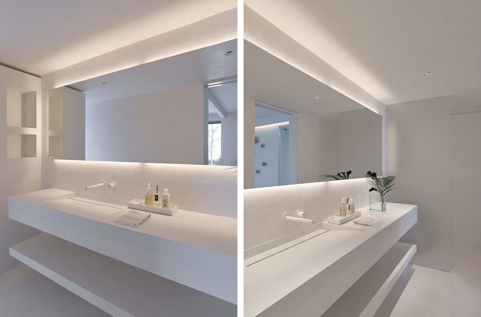 Bathroom Modern All-white cove lighting