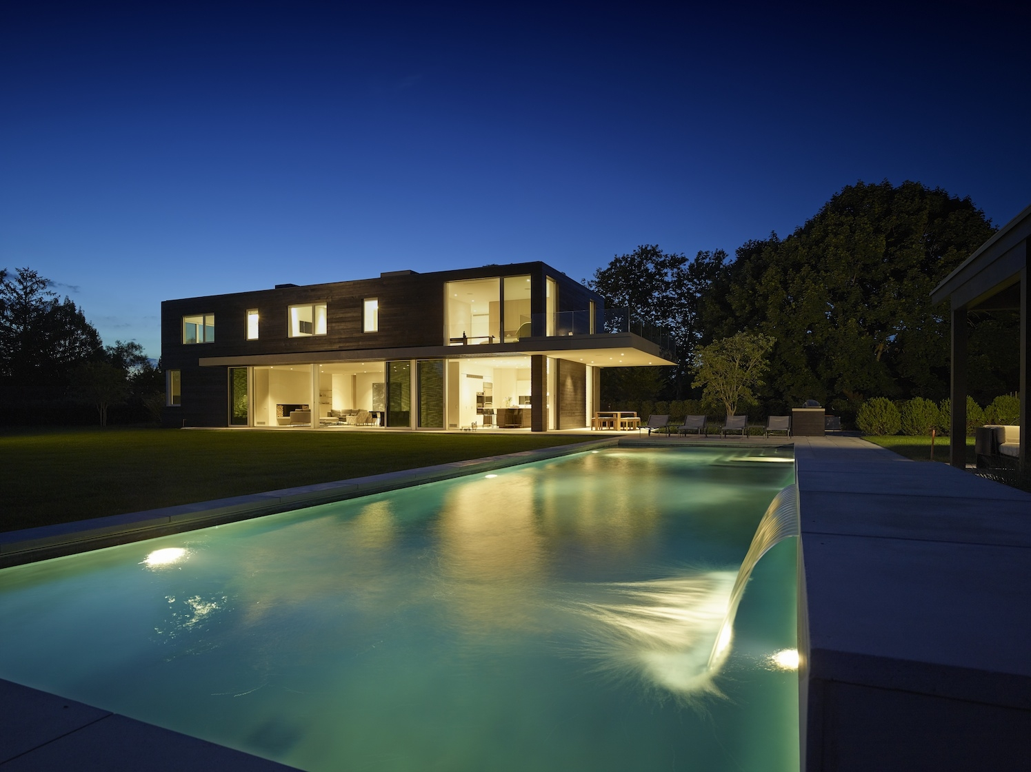 Sagaponack Modern House Pool at Dusk