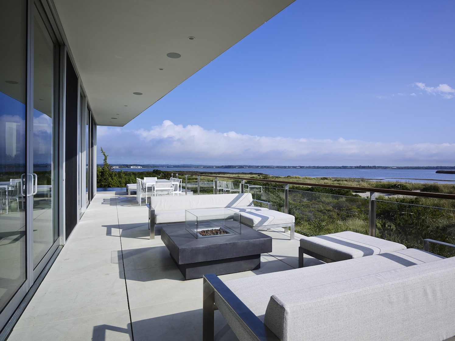 Flying Point, Water Mill, NY Modern House Deck Overlooking Ocean