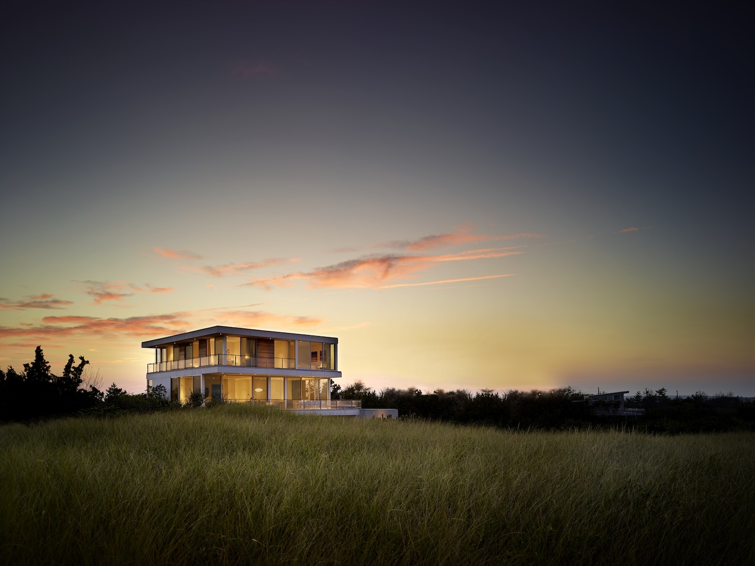 Flying Point, Water Mill, NY Modern House at dusk