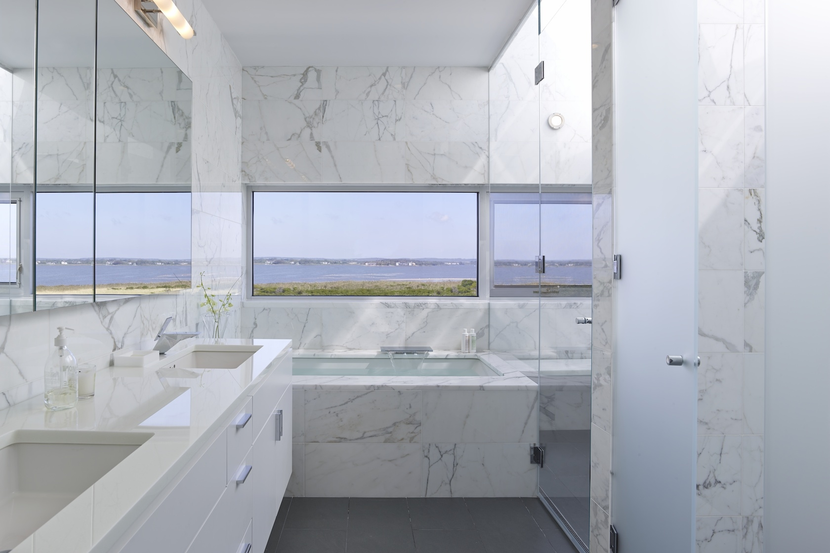 Flying Point, Water Mill, NY Modern House Interior Design Master Bathroom