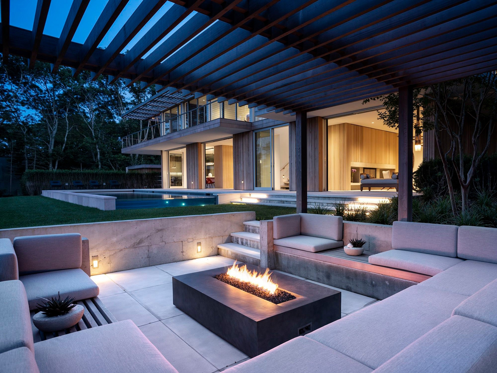 SLR Architects House On The Bluff Outdoor Fireplace