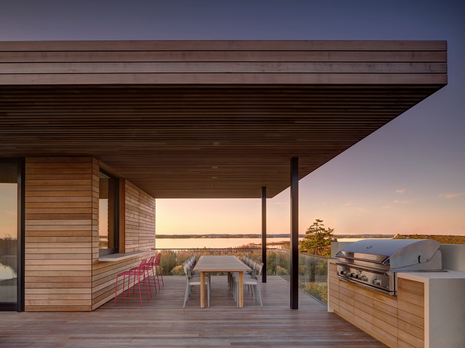 deck, seating, outdoor living, water view