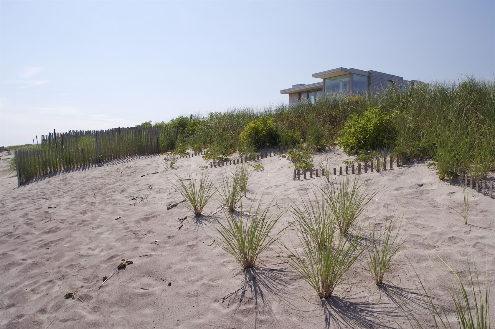 Bridgehampton, NY Modern Oceanfront House view from the beach