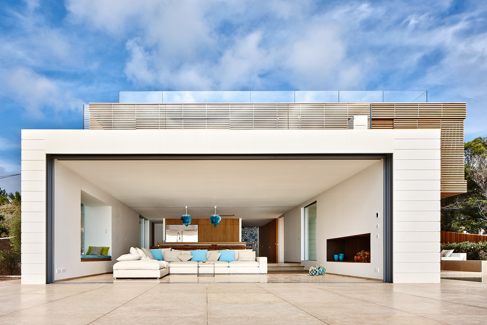 Modern Residence Glass Doors Open